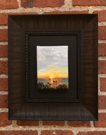 """California Sunset"" – oil on canvas, 5 x 7 inch canvas (shown with and without a frame)."